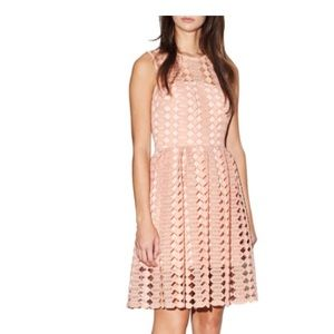 Cynthia Rowley Light Pink Geo Lace illusion neck