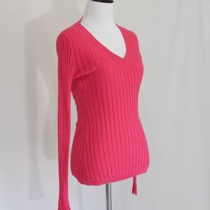 Pink V Neck Cable Sweater