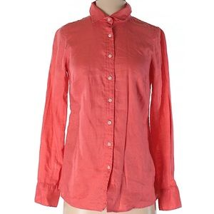 J. Crew pink long sleeve Button-Down 100% linen