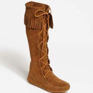 Minnetonka tall lace up boot