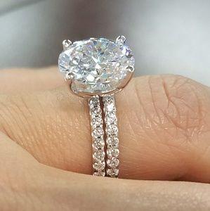 Jewelry - 3ct 14k White Gold Engagement Ring & Wedding Band