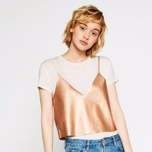 Zara Trafaluc Rose Gold Faux Leather Crop Top