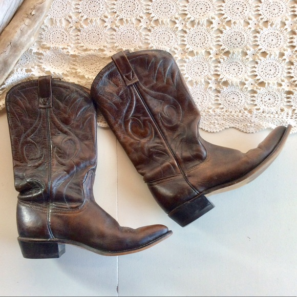 920b709dc39 Vintage ACME Flame Stitched Western Cowboy Boots