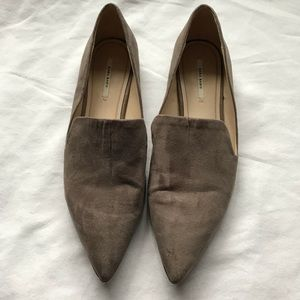 ZARA Pointed Suede Loafers Flats. SZ 9