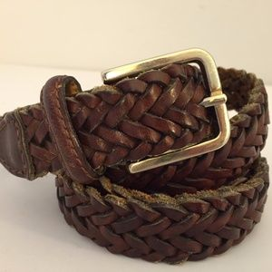 """Accessories - Warm Brown Leather Braided Belt L India 43"""""""