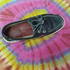 Lightly worn black Sperry Top-Siders Boat Shoes