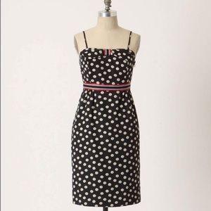 Anthropologie strapless polka dot dress size 0