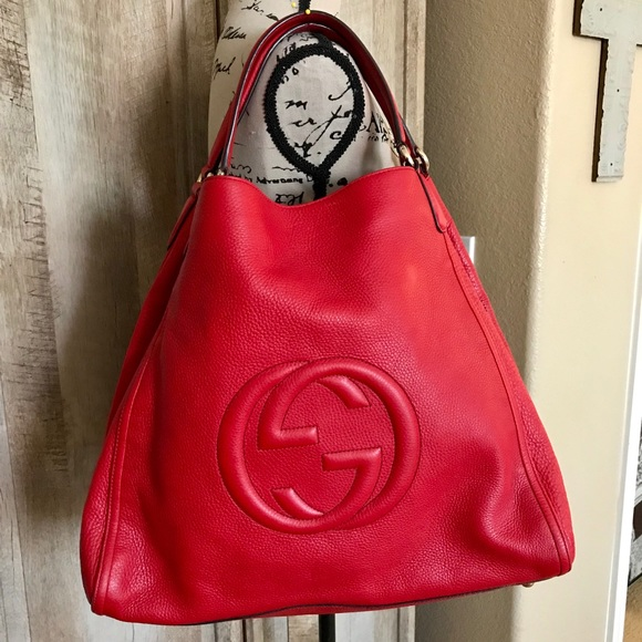 f2a73be18759 Gucci Handbags - Gucci Soho XL Shoulder Tote - RED