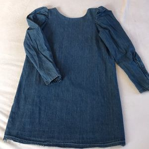 ZARA puff sleeve mini denim dress.