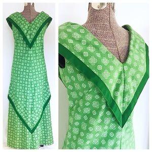 Vintage 60's Bette Inc. Green Hawaiian Maxi Dress