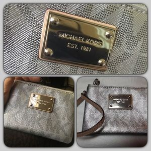 Trendy cute Silver Jet Set Michael Kors wristlet