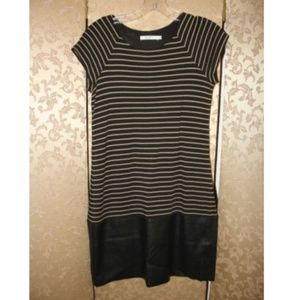 Bailey 44 Anthropologie Striped Faux Leather Dress