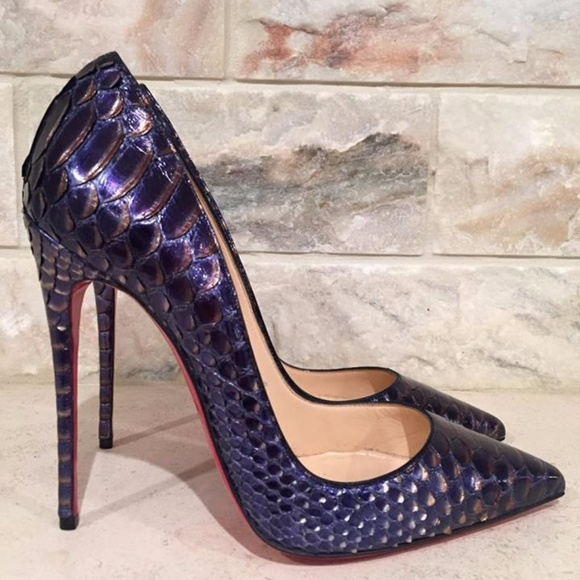 1fff8ca40906 Christian Louboutin So Kate 120 Python Snake Blue