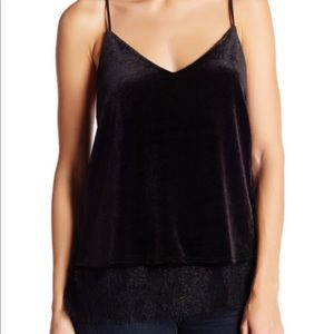 Harlow & Graham velvet and lace top
