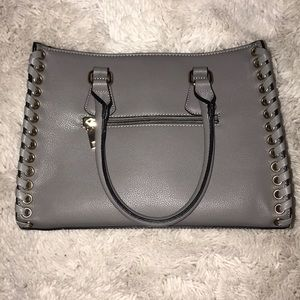 never used- grey leather purse