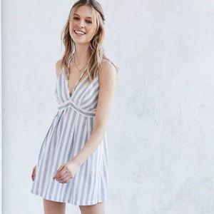 Women's Blue Strappy Striped Plunging Mini Dress