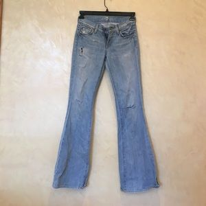 7 for all mankind distressed light flare jeans