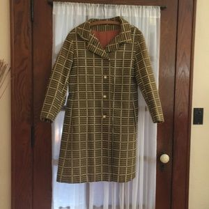 VINTAGE 1960s Patterned Trench Coat