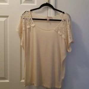 Forever 21 Cream Rayon Lace Blouse