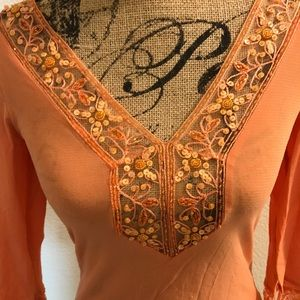 Bebe Sequined Tunic in pale apricot