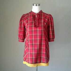 H&M red plaid tunic