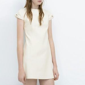 Zara Faux Leather Cream Bow Sleeve