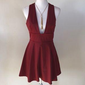 Nasty Gal Maroon Low Cut Mini Dress, M