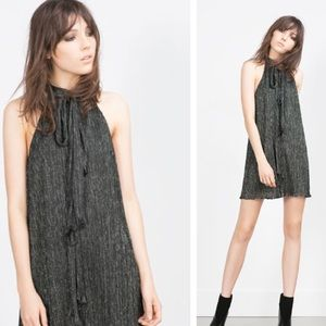 NEW Zara Halter Neck Shimmer Thread Dress