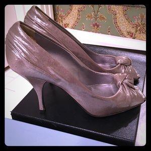 Prada opened toe metallic heel