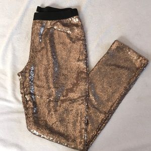 Xhilaration rose gold sequin stretchy pants.