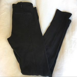 Zara black jeggings with suede detail.