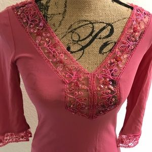 Bebe sequined tunic in rose