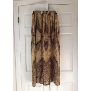 f21+ Gold and Leopard Chiffon Maxi Skirt, Size 2X