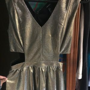 Gold glittery cut out dress