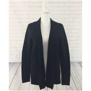 LOFT Black Wool Blend Cozy Knit Cardigan Sweater