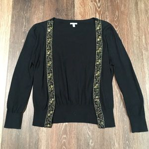 Black cardigan with gold embroidery