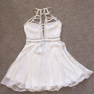 White Arden B gold accented dress