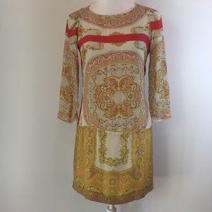 Zara Moroccan-inspired gold pink shift dress S