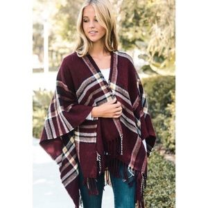 Sweaters - Red Plaid Wrap