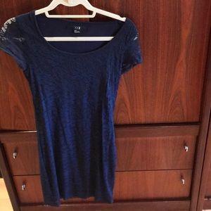 Navy lace short sleeve dress