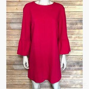 {zara} pink long sleeve textured dress