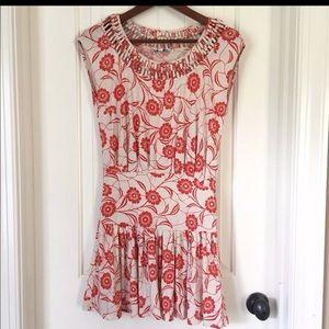 Leifnotes Anthro Mini Dress XS, red & white