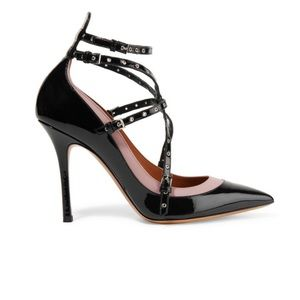 Valentino Love Latch eyelet patent-leather pumps