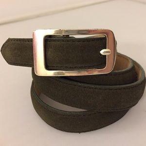 Lands' End Charcoal Gray Suede Skinny Leather Belt