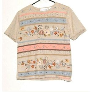Alfred DunnerEmbroidered Floral Sweater Small