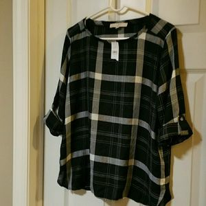 LOFT black and white plaid blouse NWT