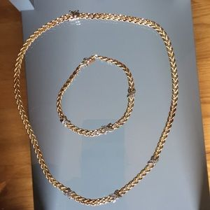10k gold necklace and bracelet set.