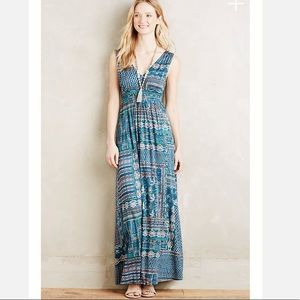 Anthropologie Blue Fairgrounds Maxi Dress