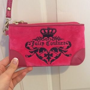 Pink Juicy Couture velour wristlet