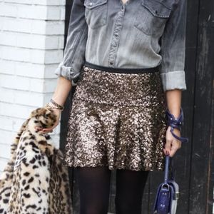 Express Gold Sequin Flippy Skirt